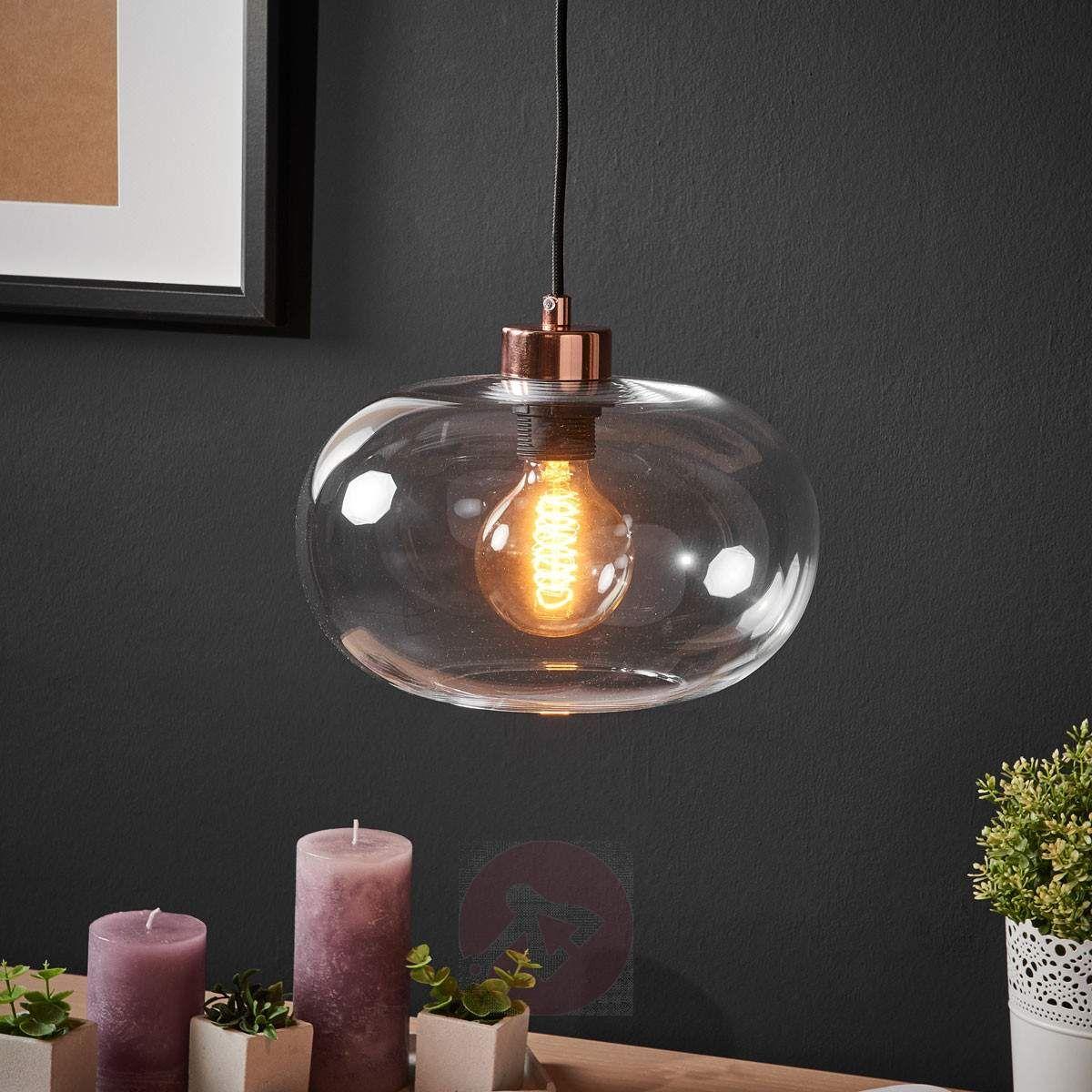 Lampada a sospensione in vetro, stile nordico. Hanglamp
