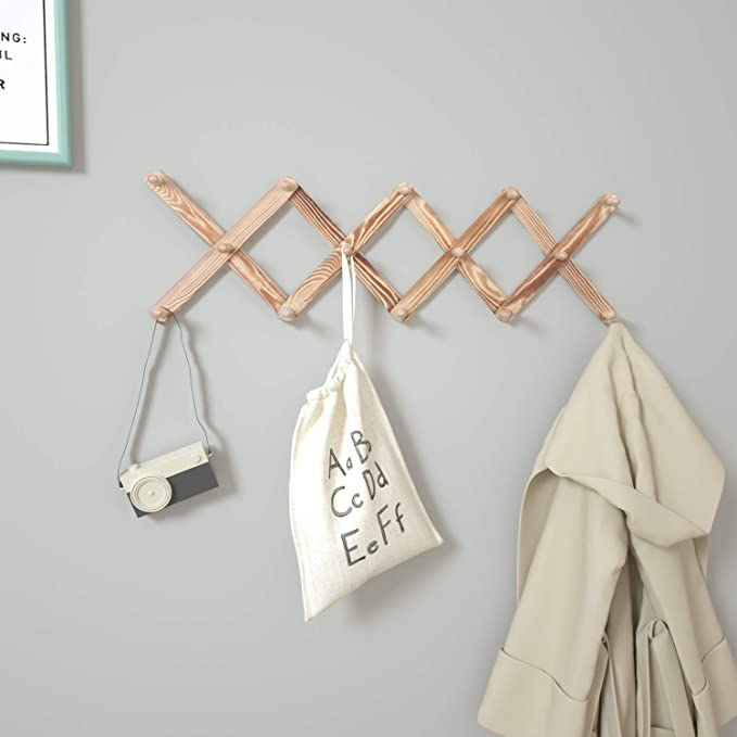 Wooden Expandable Coat Rack Hanger, Accordion Style Wall Coat Rack