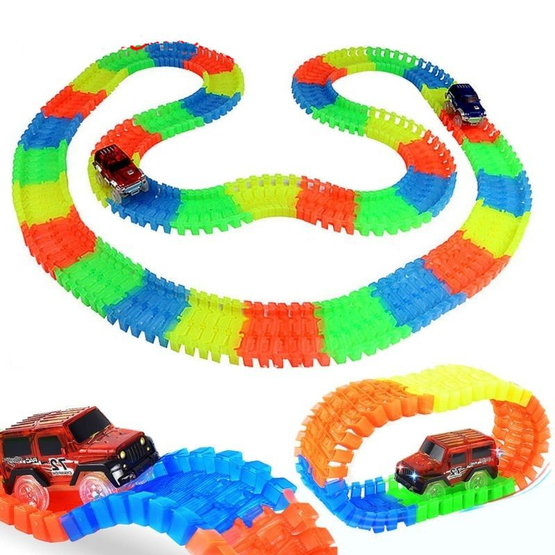 65 94 Cool 500pcs 2pcs Car Glowing Race Track Bend Flex Glow In Dark Flexible Tracks Assembly Cars Toys Roller Coa Race Car Track Toy Race Track Track Toy