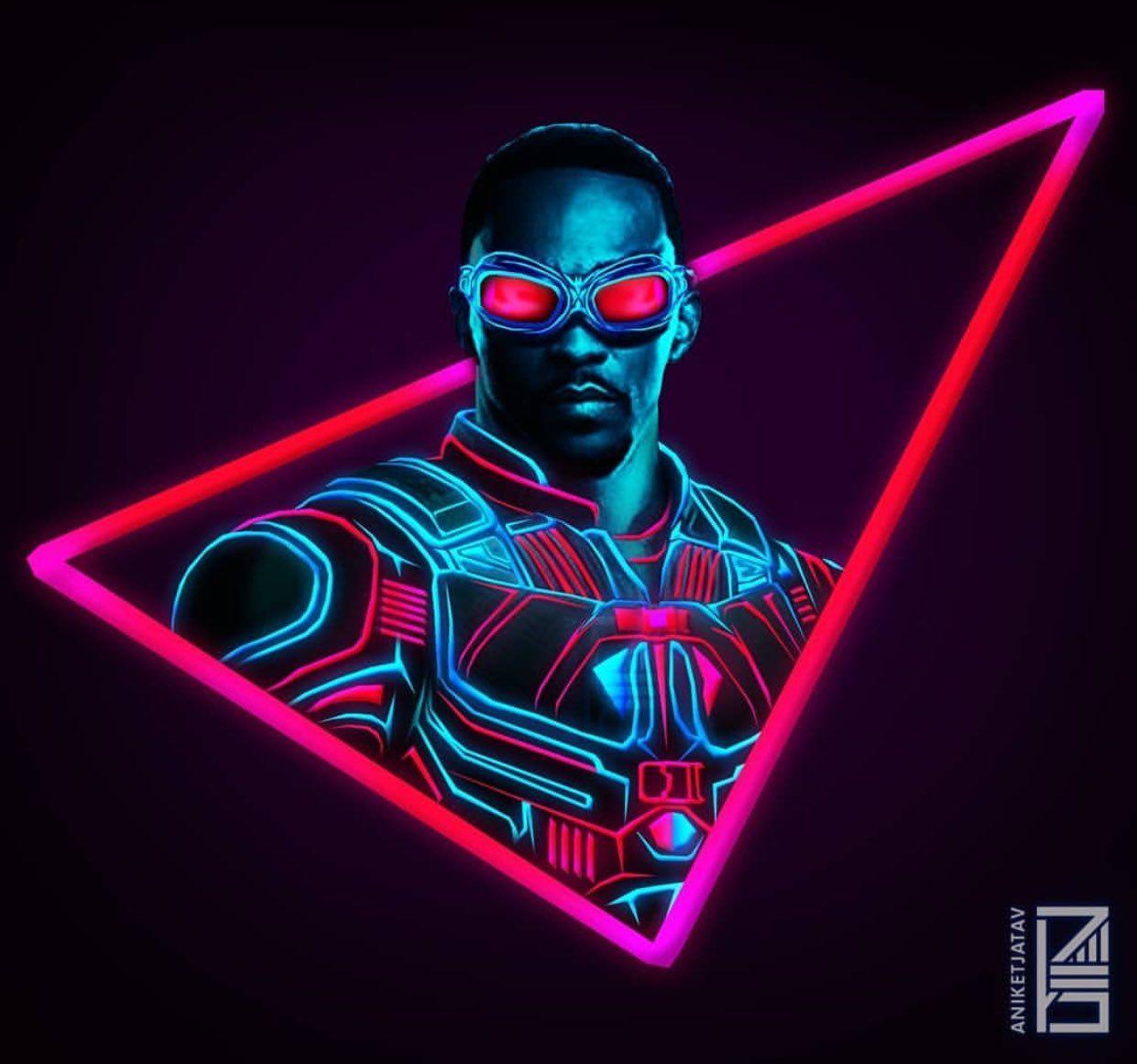 Neon Marvels Artwork Falcon Marvel Superhelden Plakat Marvel Comic Helden
