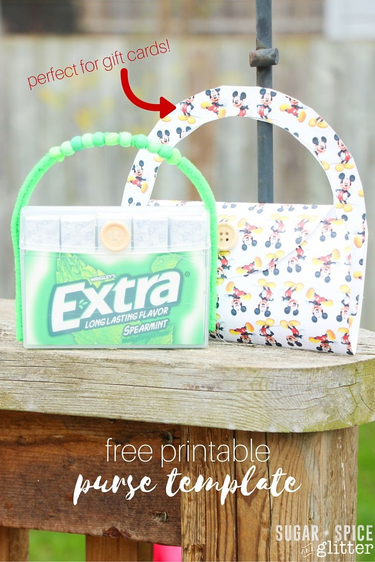 Free printable purse template perfect for gift cards or