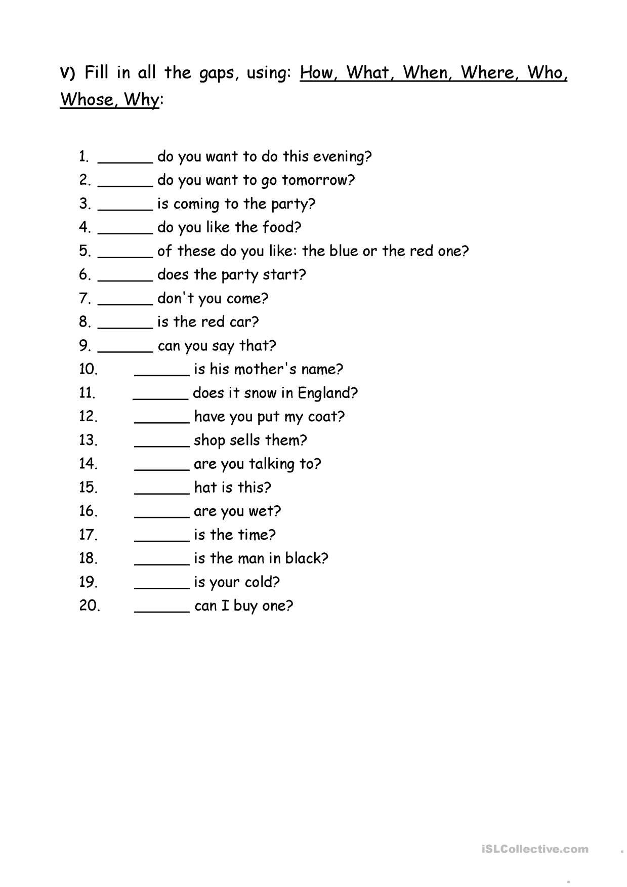 Oneclick print document This or that questions, Wh