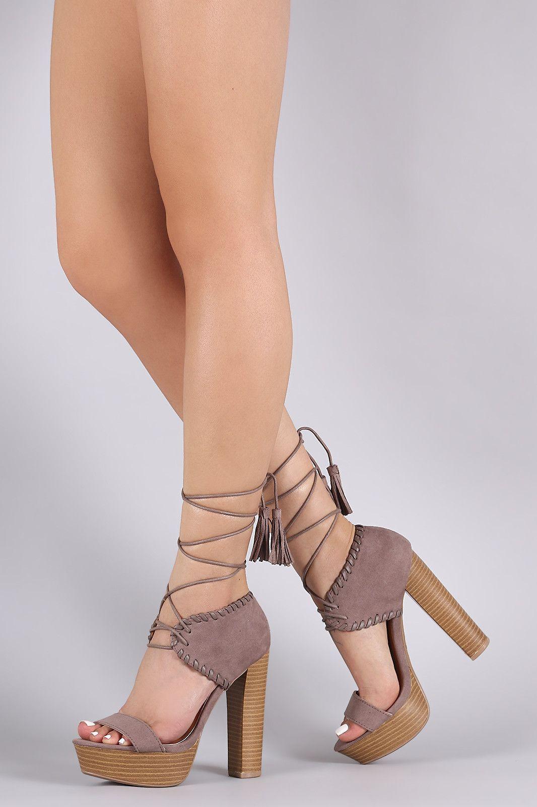 Qupid Leg Wrap Open Toe Chunky Heel  5rxTWGhJ