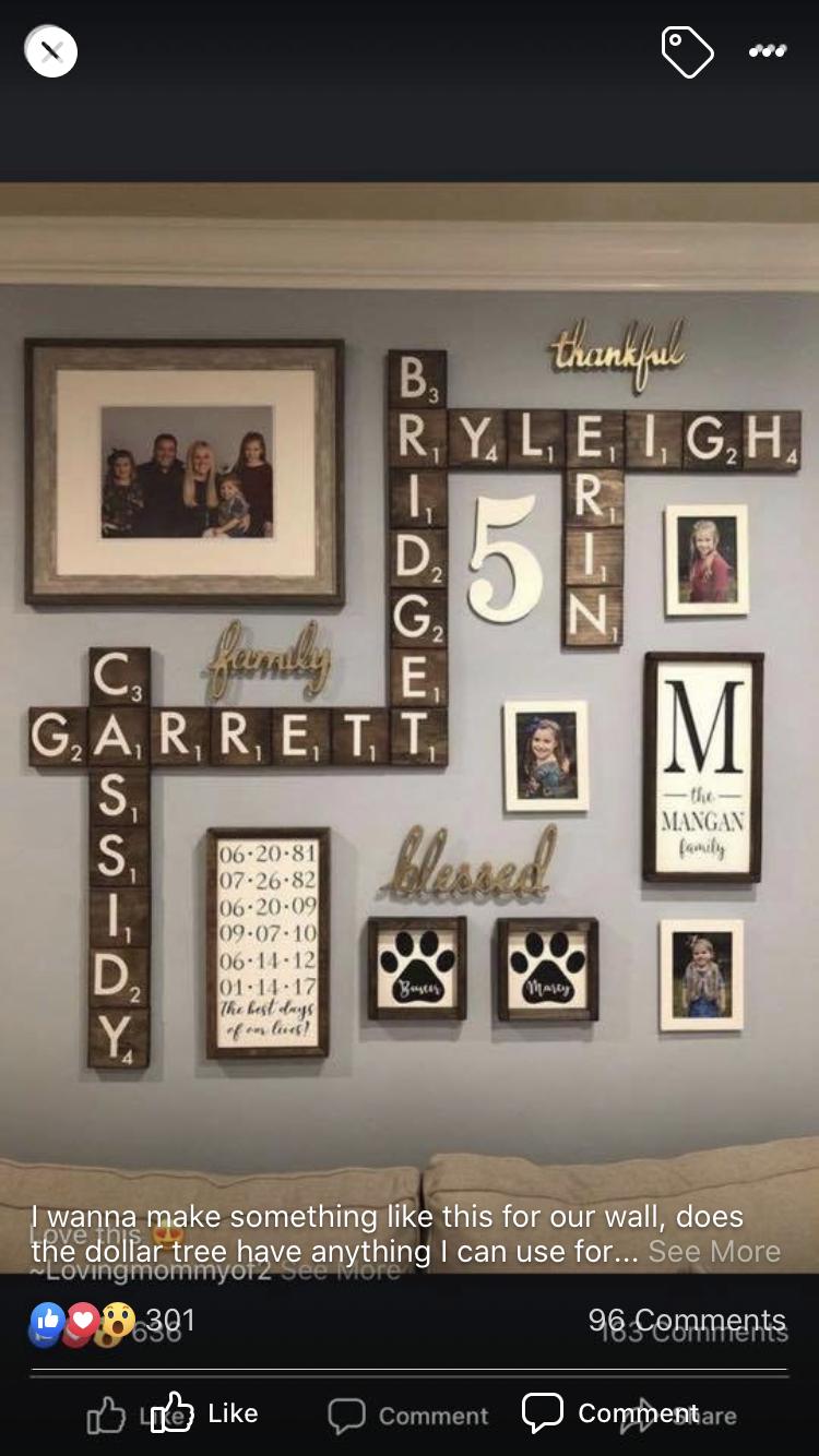 Scrabble Tiles For The Family Names Family Wall Decor Name Wall