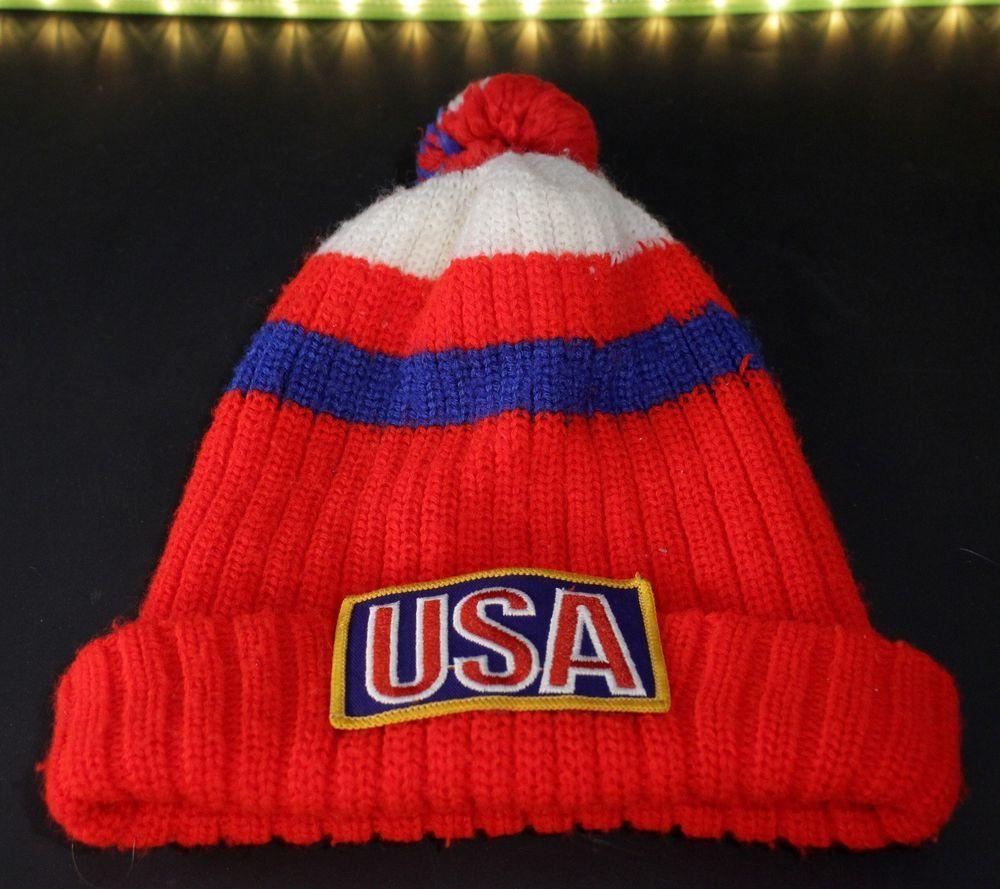 c81e0070e77 Vintage USA Winter Knit Cap Hat Toboggan Pom Pom Red White Blue Retro Patch   Unbranded  Beanie