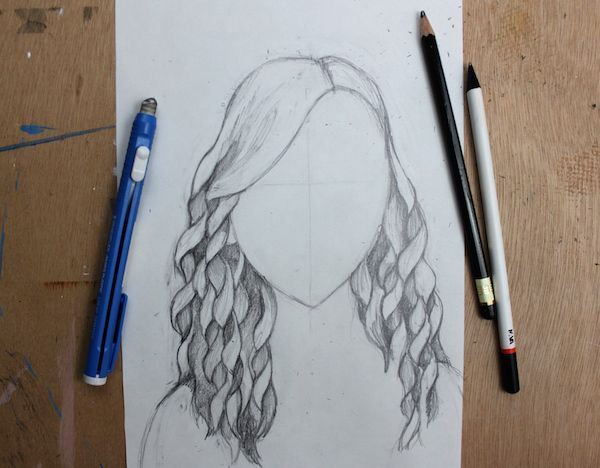 how to draw straight hair easy