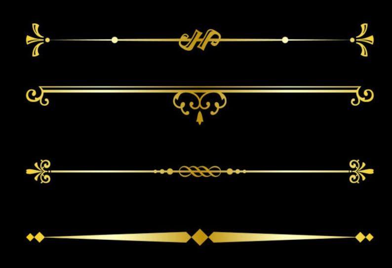 Gold Decorative Text Dividers Clipart Text Divider Vector Graphics Png Digital Clip Art Divider Clipart Gold Text Clip Art