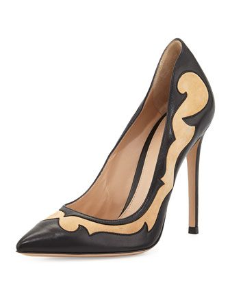 Mixed-Leather Western Pump by Gianvito Rossi at Neiman Marcus.