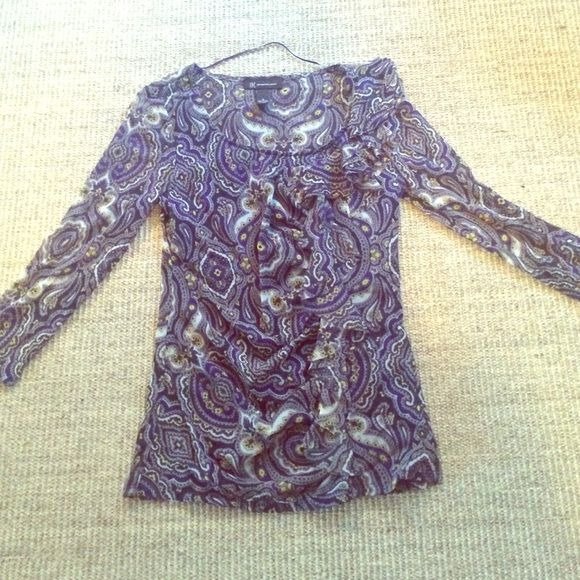 INC blouse 100% nylon, paisley type pattern, purple/yellow/greys, great for work INC International Concepts Tops Blouses