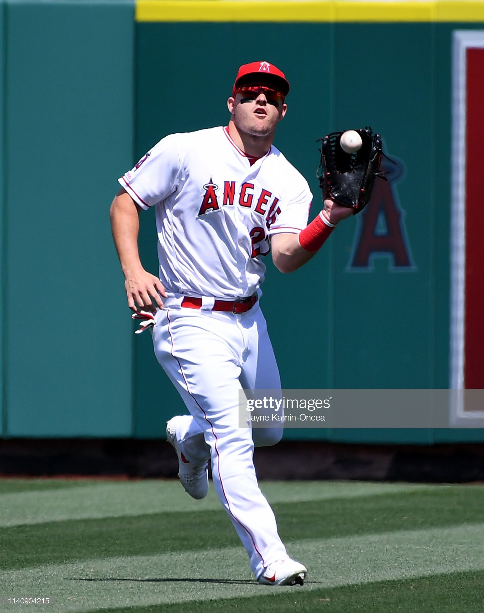 Mike Trout Of The Los Angeles Angels Of Anaheim Makes A Play During Mike Trout Los Angeles Angels Texas Rangers