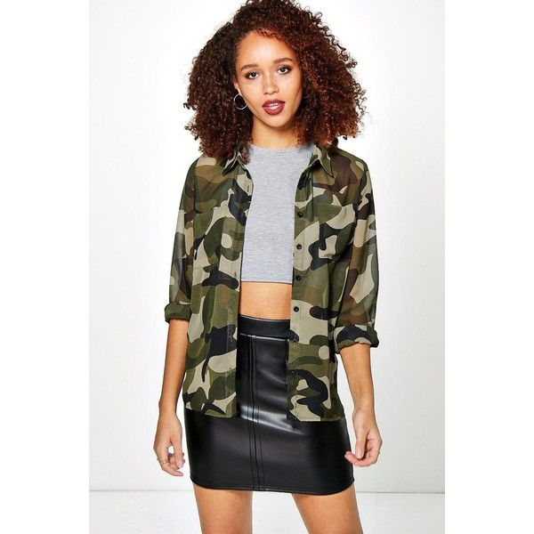 Boohoo Penny Camo Print Longsleeve Shirt ($30) ❤ liked on Polyvore featuring tops, multi, long sleeve jersey, long sleeve shirts, basic t shirt, camouflage crop top and jersey shirts