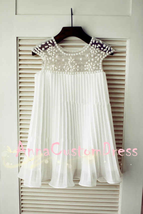 79.00$  Buy now - http://viuge.justgood.pw/vig/item.php?t=rsb10364289 - Scoop Ankle-length Ivory Ruched Chiffon Flower Girl Dress, ACD9048 79.00$