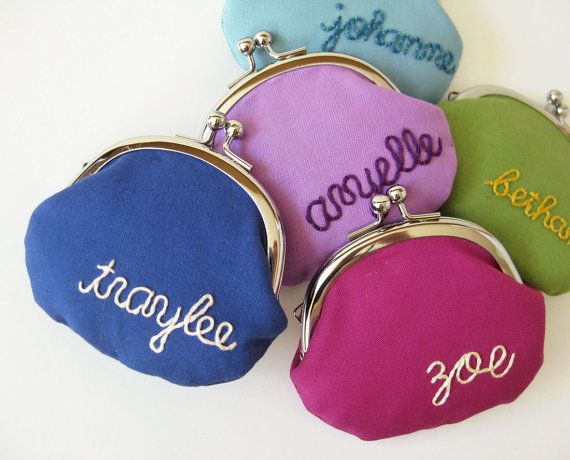 Personalized coin purse - custom embroidery pick your color