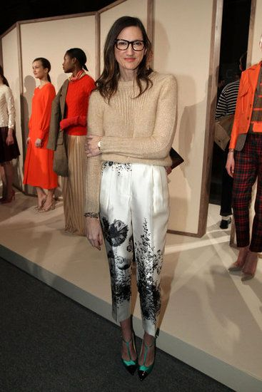 The print on these pants, worn by J. Crew's Jenna Lyons, look like they could have walked straight out of the LuEsther T. Mertz Library's collection. Wonderful, offbeat use of a floral print.