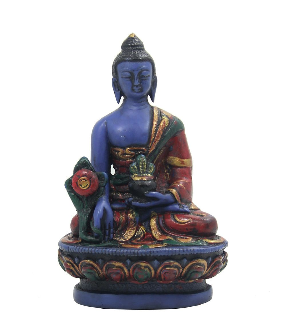 Medicine Buddha Meditating Statue for Healing, Peace and Relaxation (Blue) - Dharma Objects