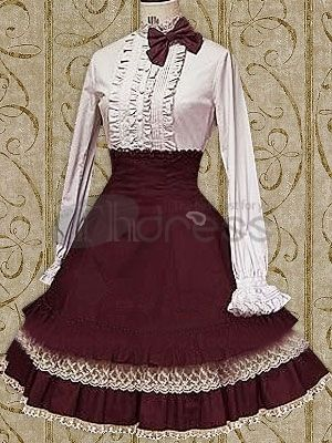 Elegant White Cotton Long Sleeves School Lolita Blouse And Purple Cotton Lace  Trimmed School Lolita Skirt on sale, a perfect Lolita Dresses with high ...