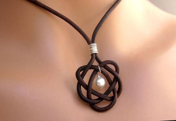 Leather Pearl Celtic Knot Pendant Necklace Womens Casual Jewelry Gift Brown Black Adjustable