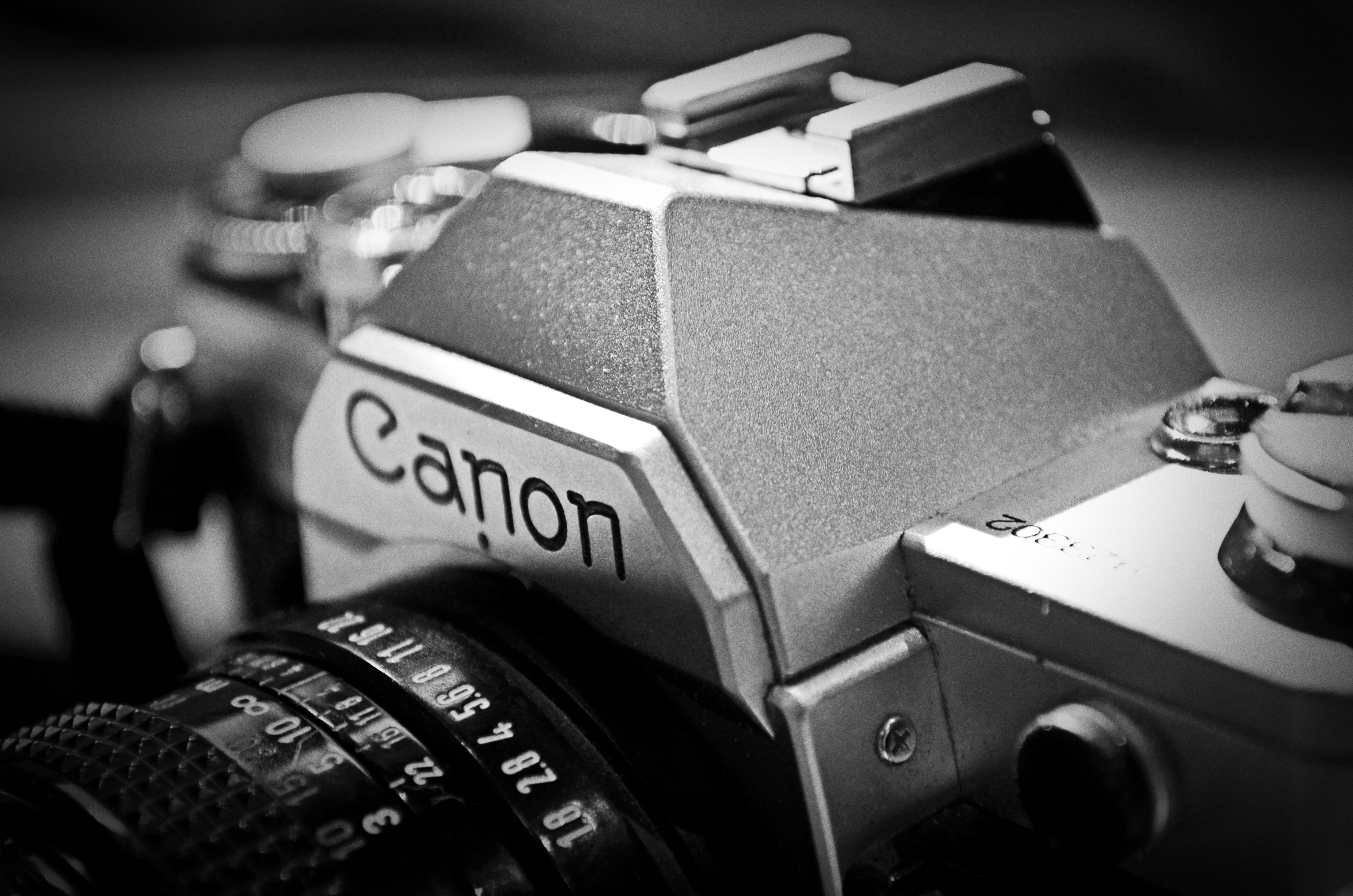 Canon camera in black and white