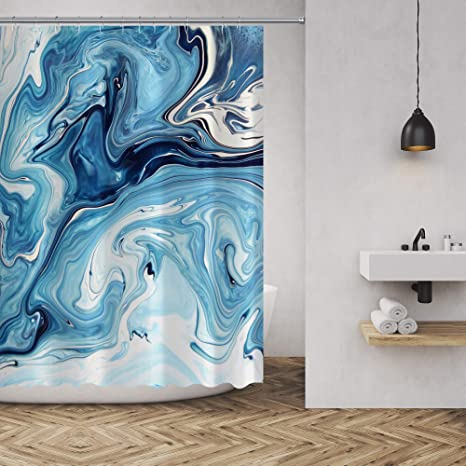 Amazon Com Abstract Marble Shower Curtain Mix Of White And Blue Texture Liquid Graphic Print Polyeste In 2020 Beach Shower Curtains Marble Showers Bathroom Decor Sets