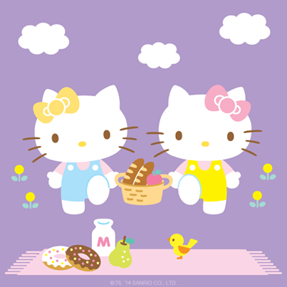 #HelloKitty and twin sister #Mimmy are enjoying a picnic on this fine day!