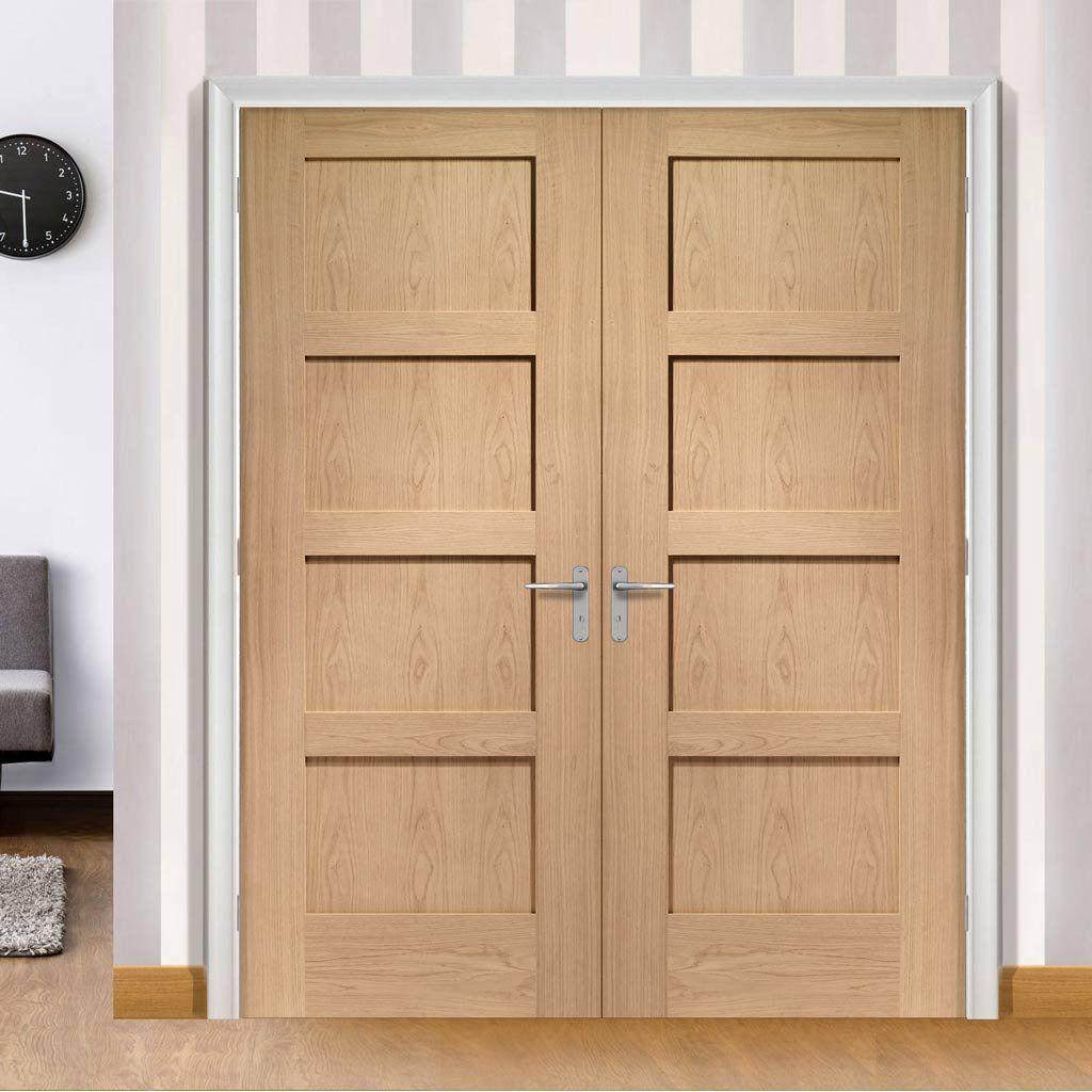 Bespoke Shaker Oak 4 Panel Solid Door Pair | Solid doors, Bespoke ...