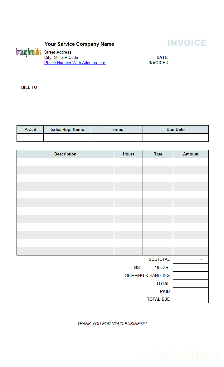 Hourly Service Billing Sample Inside Invoice Template For Dj Services 10 Professional Templates Ide Invoice Template Invoice Template Word Printable Invoice