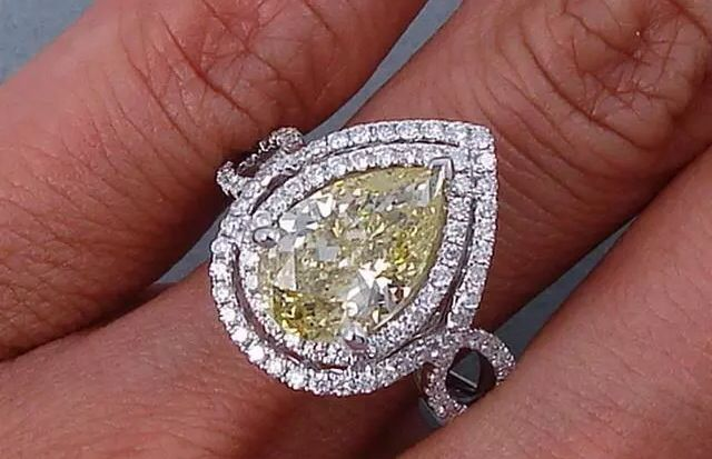 Halo Canary Yellow Pear Shaped Diamond Engagement Ring