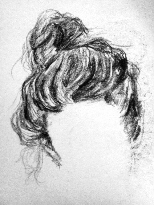 #art #drawing #charcoal #hair #bun
