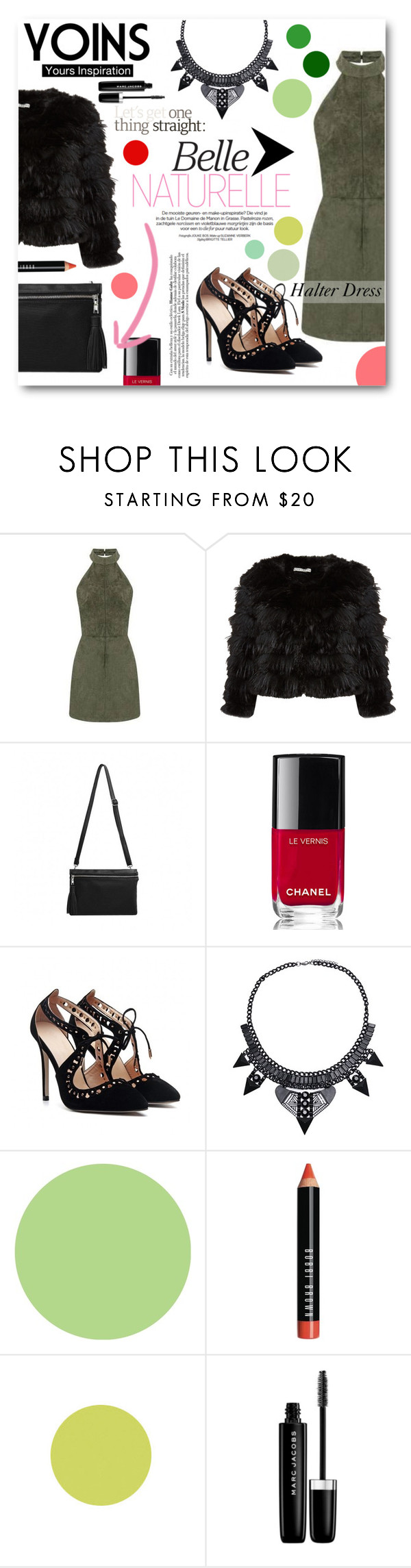 """""""Halter Dress"""" by tasnime-ben ❤ liked on Polyvore featuring Alice + Olivia, Chanel, Wall Pops!, Bobbi Brown Cosmetics, Marc Jacobs, yoins and yoinscollection"""