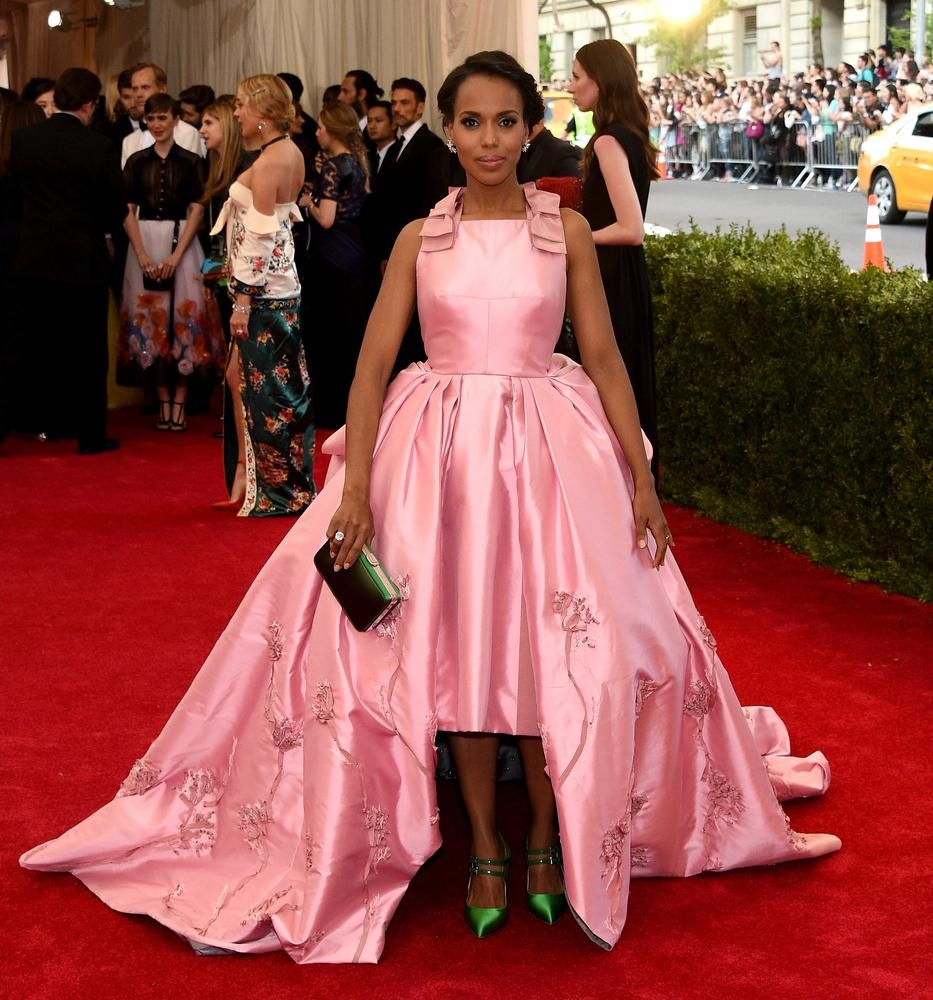 2015 Met Gala Kerry Washing Red Carpet Dresses Elegant Pink Vestidos ...