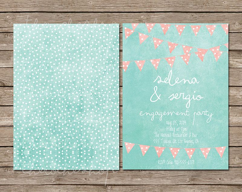 wedding invitation mint green%0A Bunting Wedding Invitations in Mint  u     Coral   by TheRocheShop