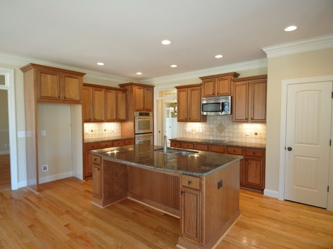 White Trim Wood Cabinets Lighting