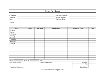 Great for landscapers and gardeners, this printable lawn care form ...