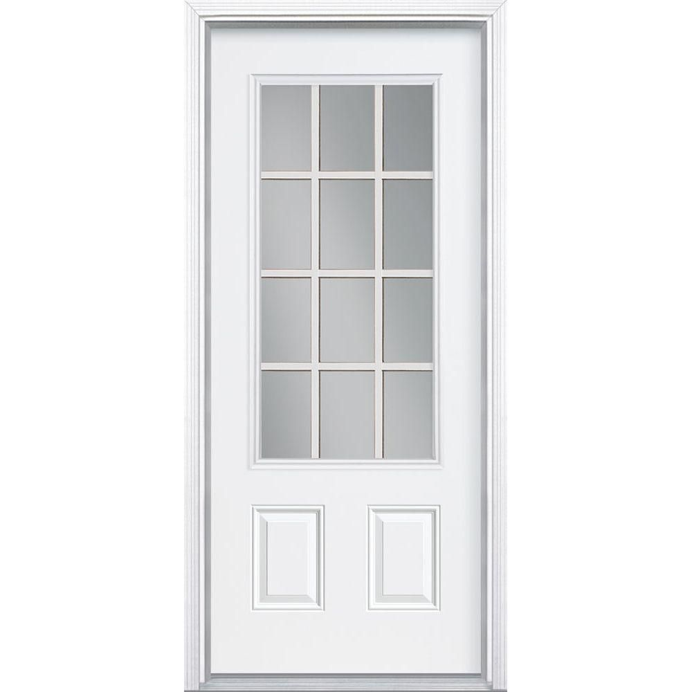 Masonite Premium 12 Lite Primed Steel Prehung Front Door With Brickmold 93019 The Home Depot Entry Doors Steel Entry Doors Masonite Interior Doors