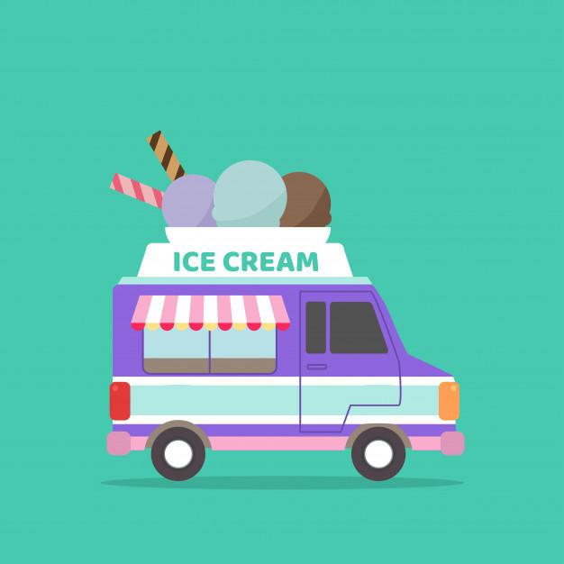 Ice Cream Truck Illustration Ice Cream Truck Ice Cream Cartoon Ice Cream