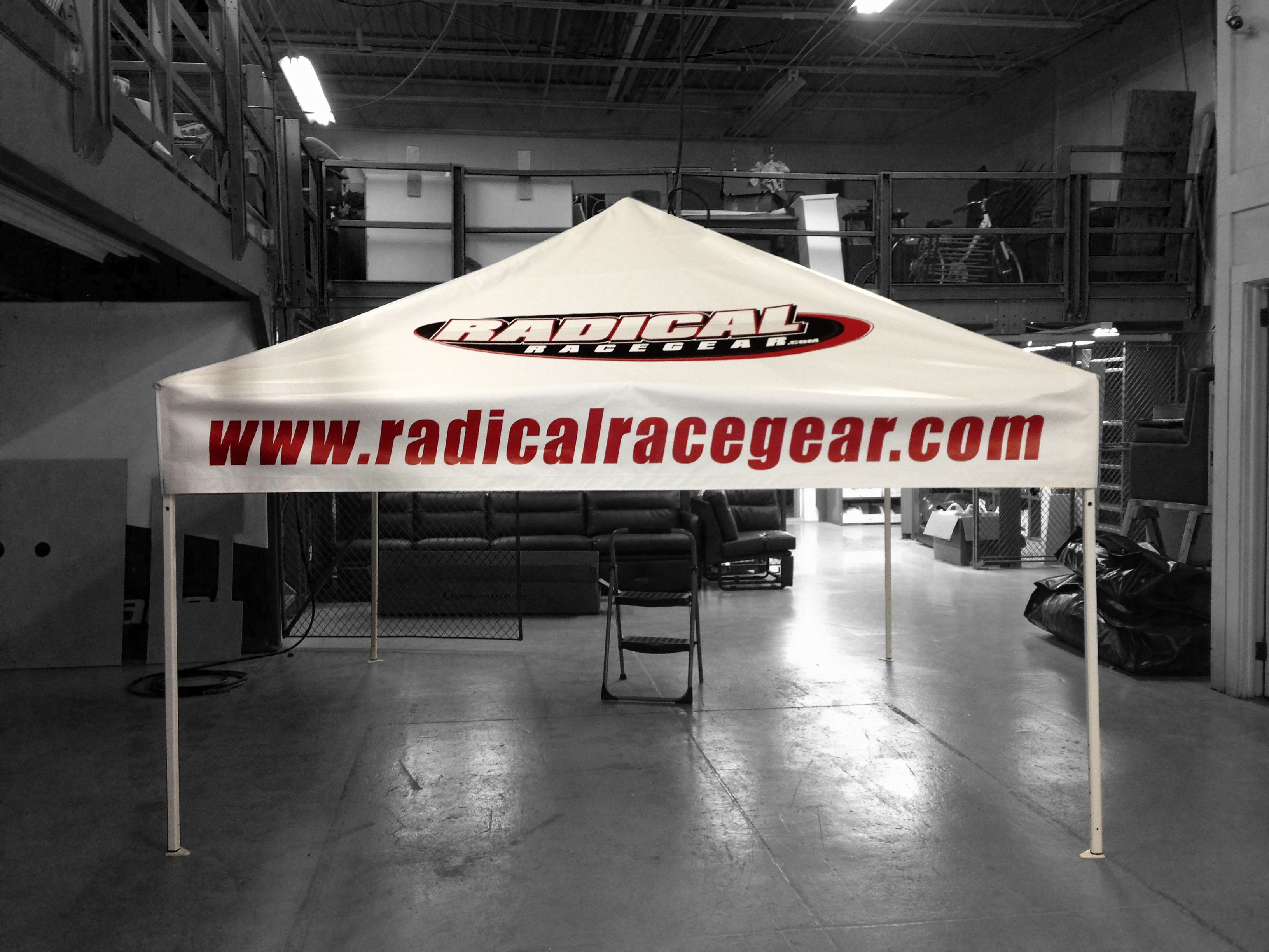 E-Z UP Tent for Radical Racegear (With images)   Custom awnings. Ez up tent. Tent