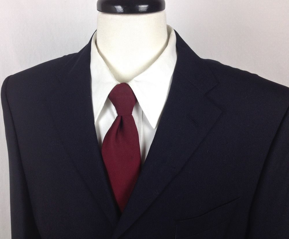 DAKS Blazer Mens 42 R Navy Blue Wool Sport Coat Jacket #DAKS #ThreeButton