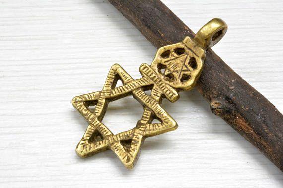tiny star of David pendant  beta Israel  Ethiopian star