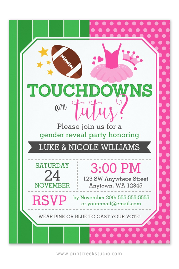Touchdowns Or Tutus Gender Reveal Party Invitations Baby Shower