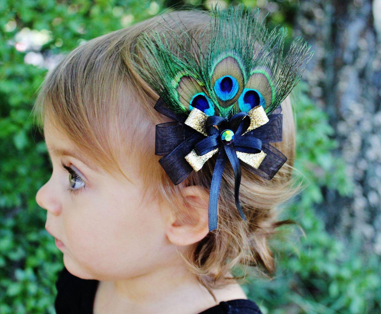 black gold peacock hair bow - wedding flower girl toddler baby