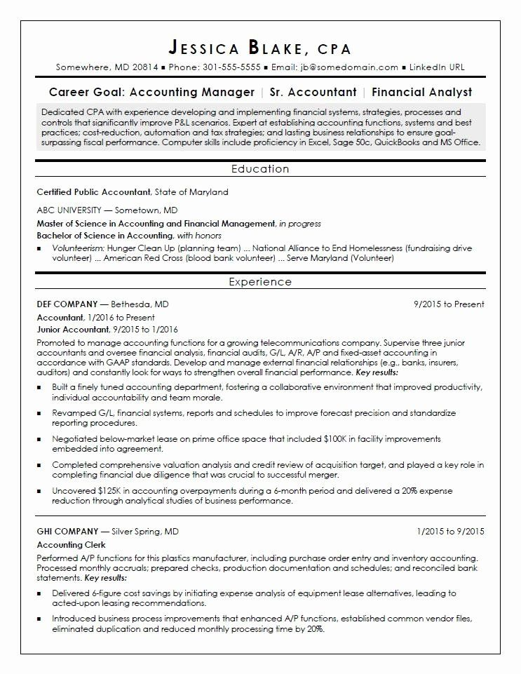 Entry Level Accounting Resume Luxury Cpa Resume Sample in
