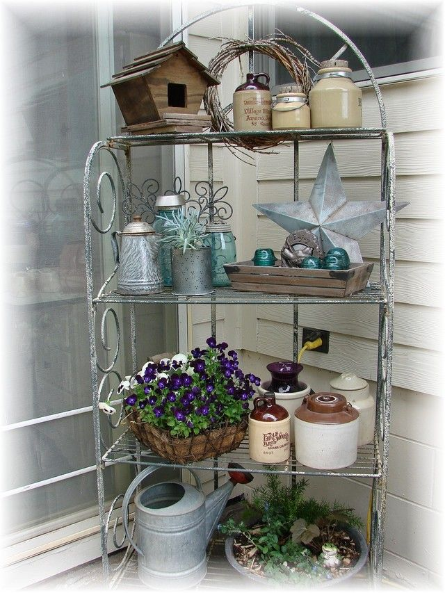 Ok I Got A Baker S Rack Today For My Front Porch Now Need Ideas