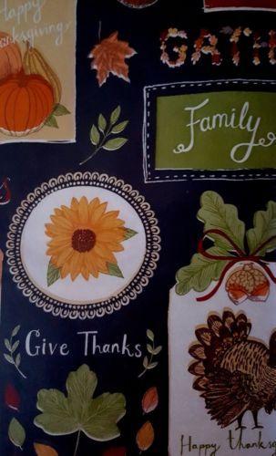Thanksgiving Harvest Autumn Vinyl Tablecloth 52 X 90 Fall Flannel Back
