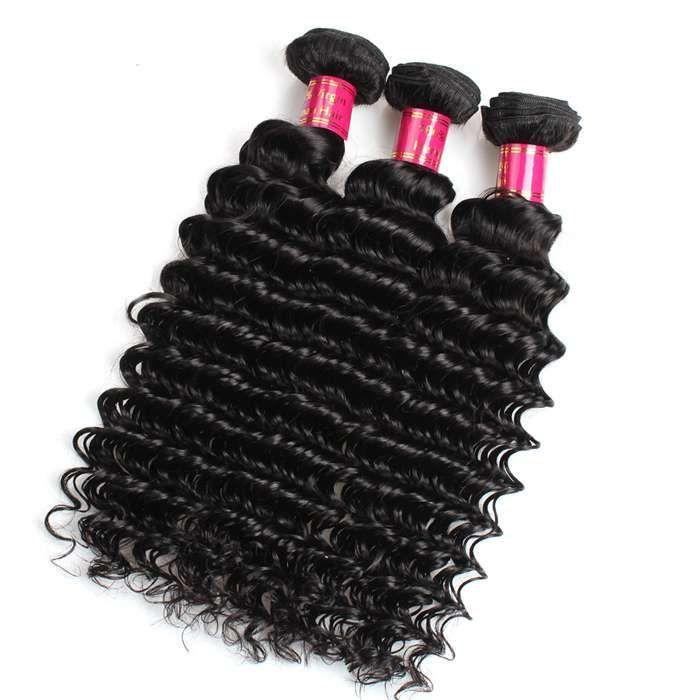 10a Mink Deep Wave 3 Bundles Brazilian Human Hair Natural Color