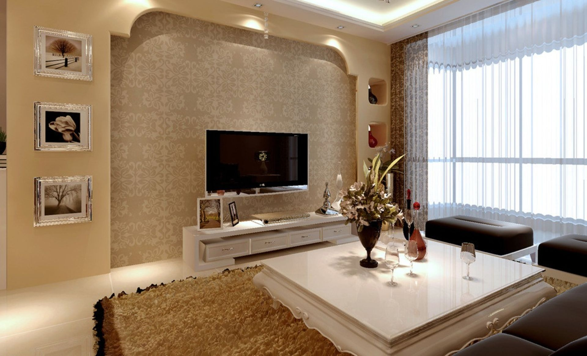 Interior ideas incredible modern white lacquer low white for Next living room wallpaper