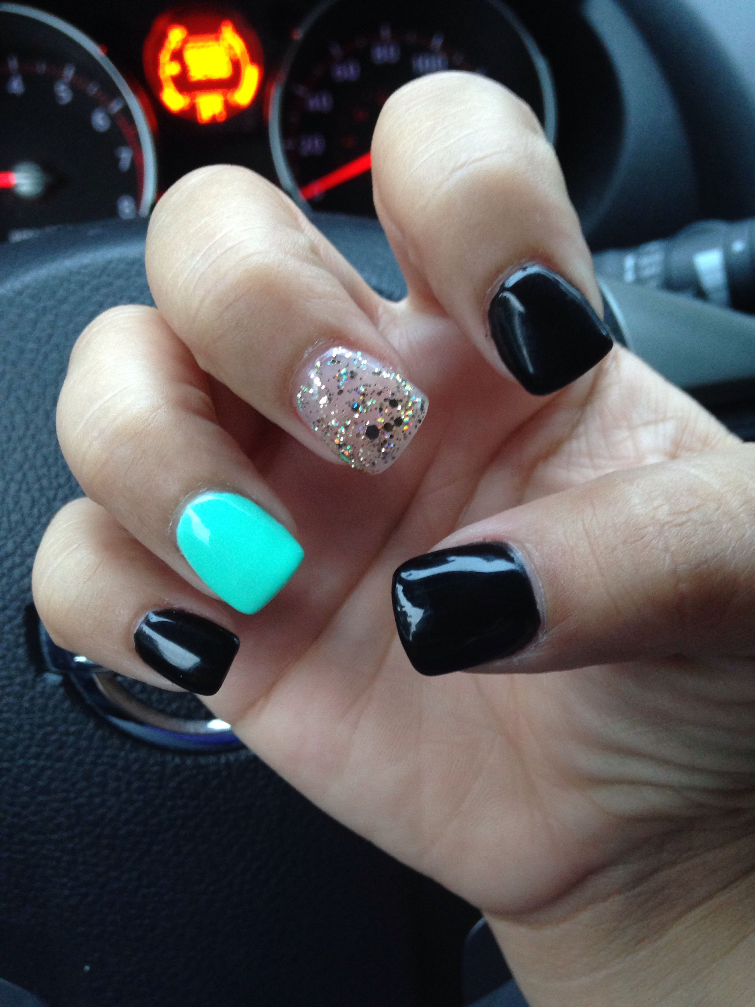 black teal and gold nails in 2019