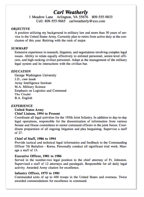 Example Of Infantry Officer Resume Examples Resume Cv Resume Examples Resume Resume Cv