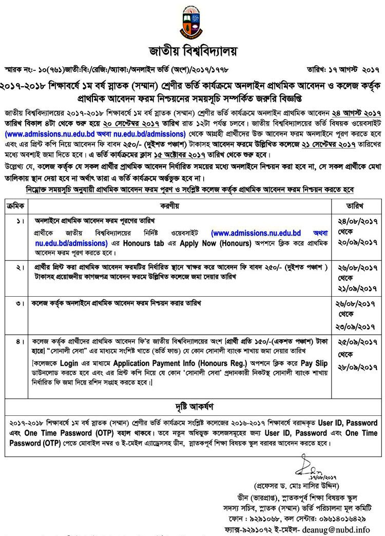 National University Degree Exam Routine \ Form Fill Up Notice 2015 - payment slips