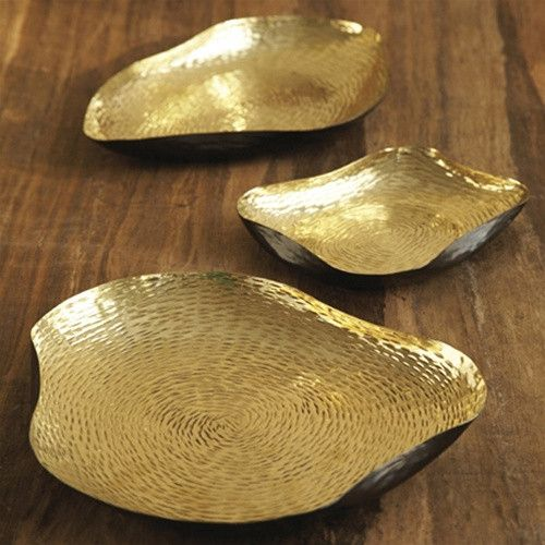 "$180.00 AlchemyCollection Set of 3 Decorative Tray, Designed By Marilyn Davidson in Brass. These elegant pieces make excellent table decor and can double as divine serving pieces at your next gathering.   Size:   ( 5"" x 8"" L, 7 1/2"" x 12"" L, 9 3/4"" x 10 3/4"" L )"