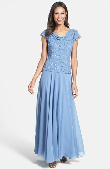212ef2a3ace a cowl neckline that drapes elegantly in back begins a lovely blue gown  with tonal beading glistening over the bodice. A drop-waist design that s  flattering ...